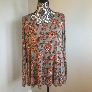 Logo by Lori Goldstein floral long sleeve top XL